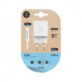 CARGADOR DOBLE CABLE MICRO USB TECH ONE TECH