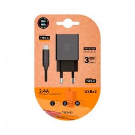 CARGADOR DOBLE CABLE USB C TECH ONE TECH NEGRO