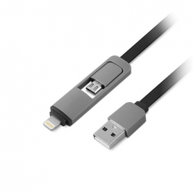 CABLE USBA A LIGHTNING MICROUSB 1LIFE 1M NEGRO