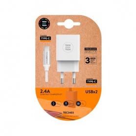 CARGADOR DOBLE CABLE USB C TECH ONE TECH BLANCO